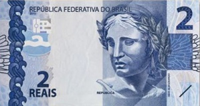2 Brazilian Real Note Close