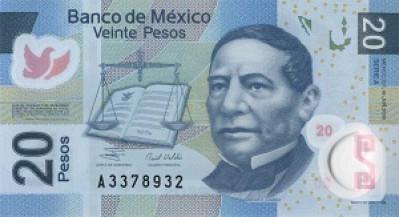 20 Mexican Peso Note Close