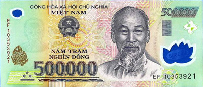 500,000 Vietnamese Dong note. Close