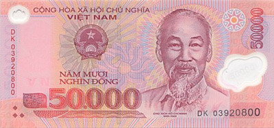 50,000 Vietnamese Dong note. Close.