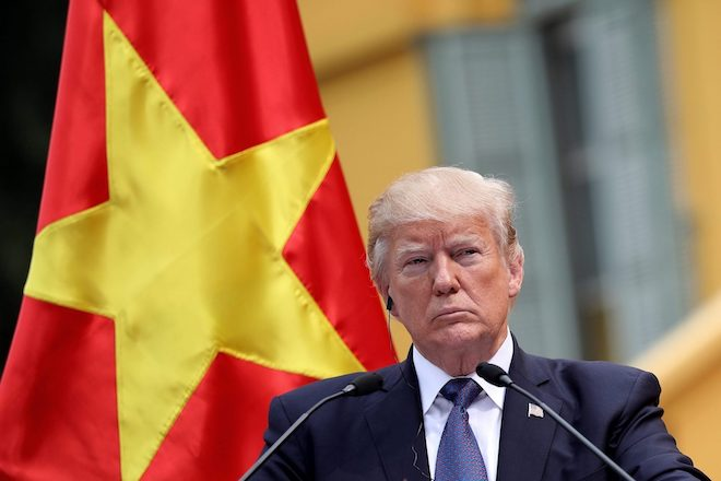 US President Donald Trump speaks with a Vietnamese flag in the background in a file photo. Image: Twitter
